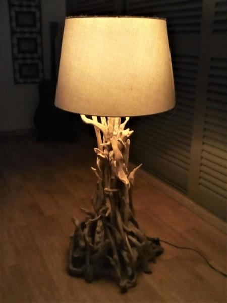 BOIS, MARQUETERIE lampe  en bois flott  - lampe en bois flotté