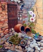 tableau paysages cruches oiseaux hirondelle porte : Un petit coin habité