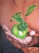 tableau fruits pomme main torse : Offrande
