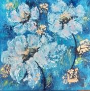 tableau fleurs bleu fleurs moderne : Fouillis