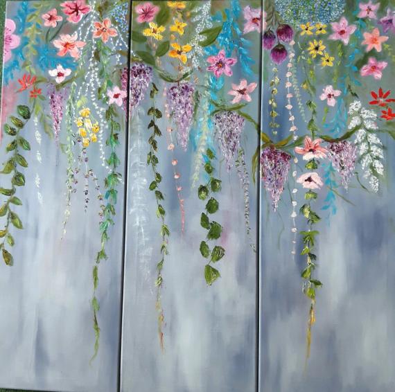 TABLEAU PEINTURE fleurs couleurs printemps Fleurs Peinture a l'huile  - Bientôt le printemps