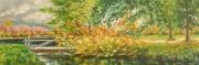 tableau paysages automne pont riviere : Le petit pont de bois
