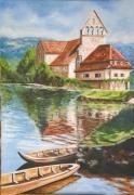 tableau paysages riviere eglise barque : Beaulieu sur D.