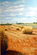 tableau paysages ete chaumes ciel : Les chaumes