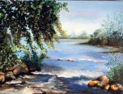 tableau paysages paysage riviere : Visitation