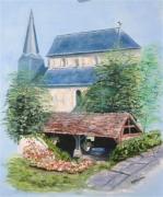 tableau paysages paysage lavoir eglise : le lavoir fleuri
