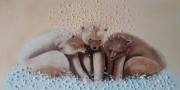 tableau animaux ours neige banquise froid : Il neige