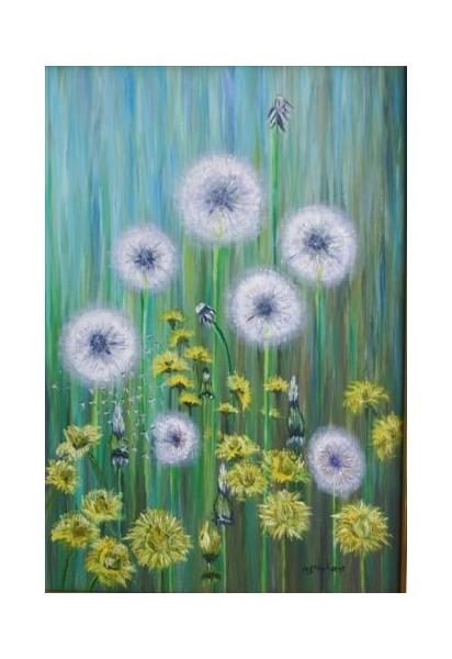 TABLEAU PEINTURE Pissenlts fleurs Fleurs Peinture a l'huile  - les pissenlits