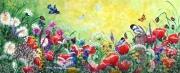 tableau fleurs fleurs des champs oiseaux reverie : Rêverie champêtre