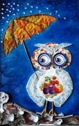mixte animaux mosaique chouette collage : Sous la pluie