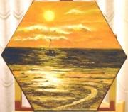 tableau paysages coucher soleil or : Douceur du soir