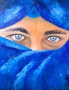 tableau personnages bleu regard yeux bleus : Le regard