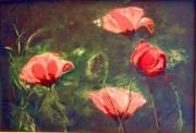tableau fleurs coquelicots rouge collage : Rouges de soie