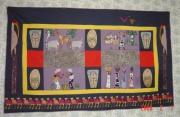 art textile mode scene de genre afrique applique panneau art textile : balade