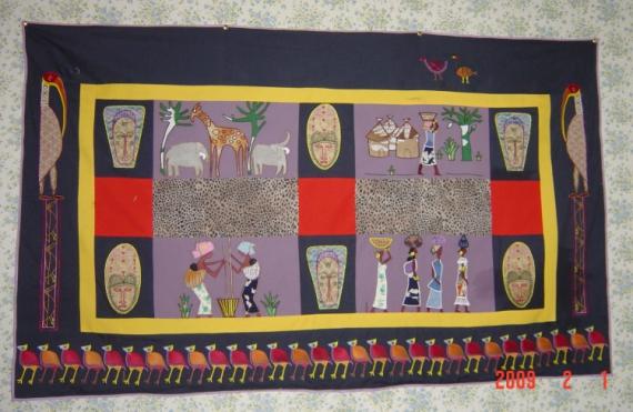 ART TEXTILE, MODE afrique appliqué panneau art textile Scène de genre  - balade