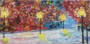 tableau paysages lumieres froid homme : Patinoire