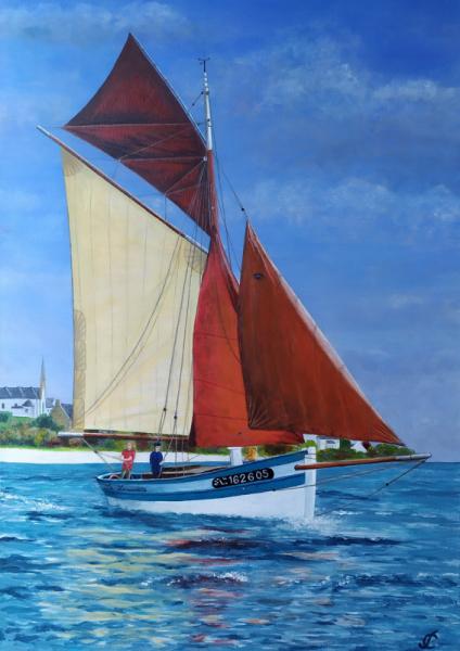 TABLEAU PEINTURE voilier Plouhinec Bretagne la louisette Marine Acrylique  - Voilier la Louisette