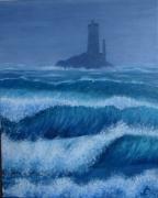 tableau marine phare vieille pointe du raz vagues : Phare de la Vieille