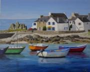 tableau marine port maisons bretonnes rochers bretagne : Lesconil