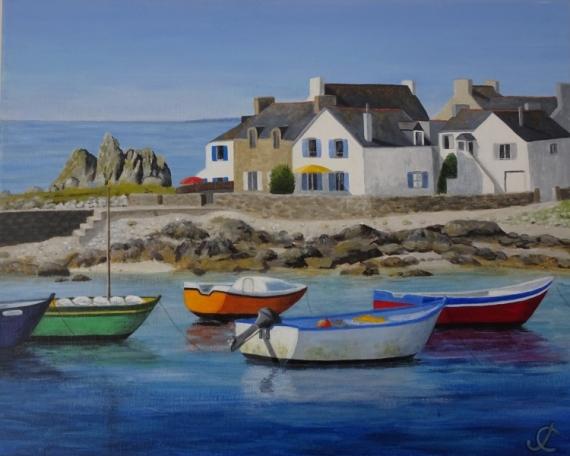 TABLEAU PEINTURE port maisons bretonnes rochers bretagne Marine Acrylique  - Lesconil