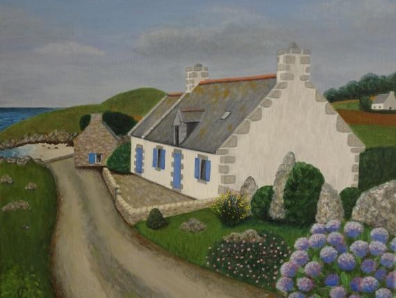 TABLEAU PEINTURE Bretagne maison mer penty Paysages Acrylique  - Penty Ile de batz