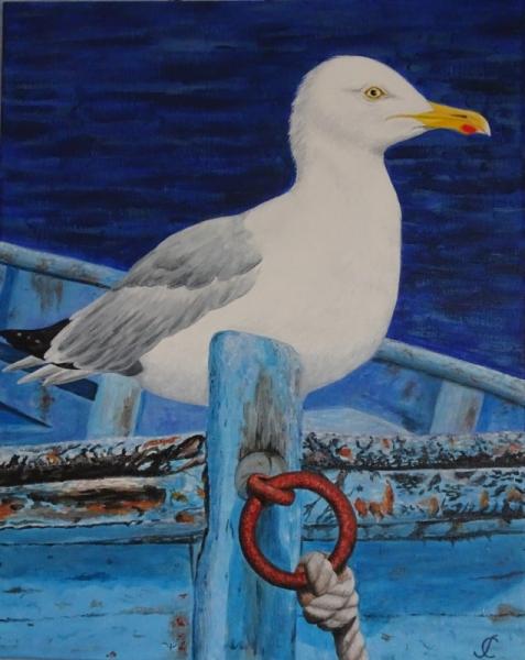 TABLEAU PEINTURE Goeland mouette vieux bateau Marine Acrylique  - Goeland capitaine de bateau