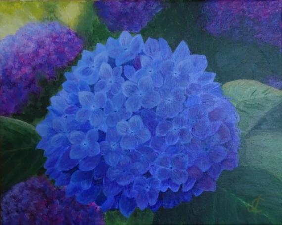 TABLEAU PEINTURE hortensia fleurs bleu Fleurs Acrylique  - Hortensia