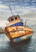 tableau marine vieux bateau rouille peche bleu : vieux bateau de pêche