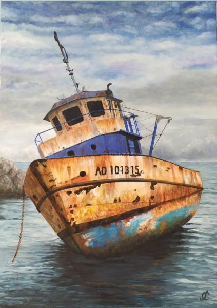 TABLEAU PEINTURE vieux bateau rouille pêche bleu Marine Acrylique  - vieux bateau de pêche