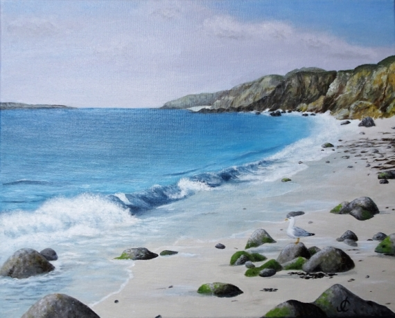 TABLEAU PEINTURE Plage vagues rochers Bretagne Marine Acrylique  - Ruscumunoc