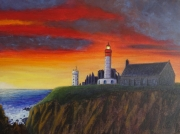 tableau paysages st mathieu phare abbaye coucher soleil : St Mathieu