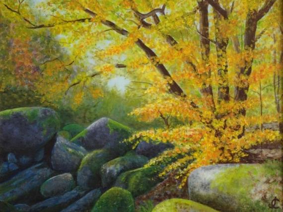 TABLEAU PEINTURE Automne forêt rochers Bretagne Paysages Peinture a l'huile  - Huelgoat