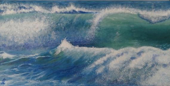 TABLEAU PEINTURE rouleau vague océan mer Marine Acrylique  - vague
