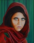 tableau personnages afghane yeux verts portrait : l'afghane aux yeux verts