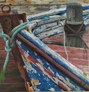 tableau marine epave bateau vieux bois cordages rouille : Epave de bateau