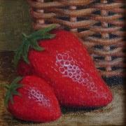 tableau fruits fraise panier fruit nature morte : fraise