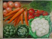 tableau nature morte legumes artichauts chouxfleur cageot : cageots de légumes