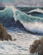 tableau marine vague deferlante ecume rochers : vague déferlante