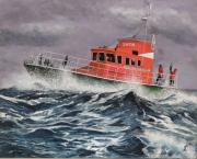 tableau marine tempete bateau sauvetage snsm : bateau SNSM dans la tempête