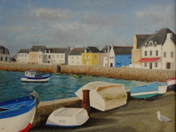 TABLEAU PEINTURE Ile de Sein port bateaux Bretagne Marine Acrylique  - Ile de Sein