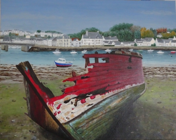 TABLEAU PEINTURE cimetière bateaux Audierne épave bateau Bretagne Marine Acrylique  - Epave bateau Audierne