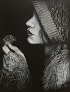 dessin autres oiseaux douceur femme profil : La femme et l'oiseau