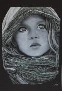 dessin personnages fillette portrait noir et blanc enfant : «Art y elle»