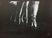 dessin sport danse ombrage classique noir et blanc : Les ballerines