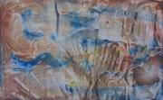 tableau abstrait abstrait huile bois signee : b32