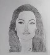 dessin personnages pencil portrait drawing : Angelina Jolie