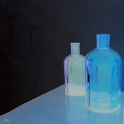 photo nature morte bleu pur frais transparent : Bouteilles bleues