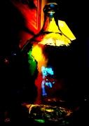 photo nature morte bonbonne verre couleurs vitrail : bonbonne vitrail