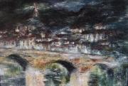 tableau paysages reflets eau pont village : Reflet de Roquebrun dans l'eau