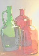 photo nature morte bouteilles couleurs transparence harmonie : Bouteilles colorées